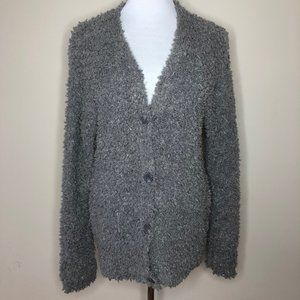 RXB Boucle Knit Button Front Steel Grey Cardigan S